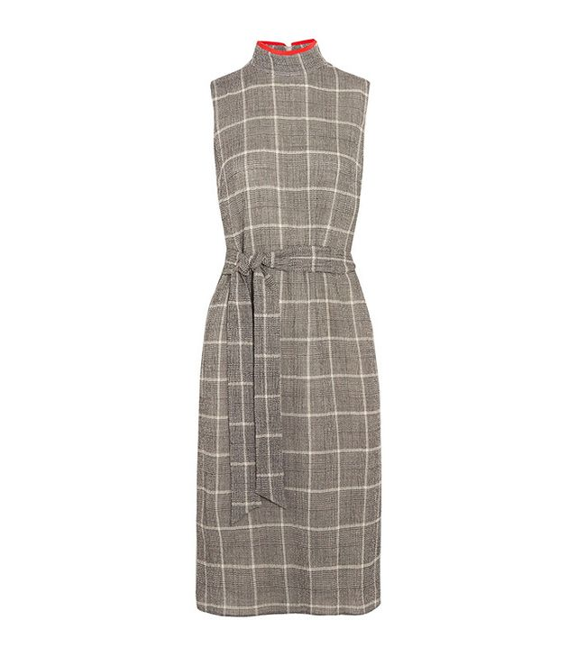 Cefinn Belted Prince Of Wales Checked Wool-Blend Dress