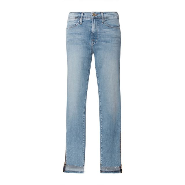 Frame Denim Le High Skinny Raw Stagger Zip Jeans