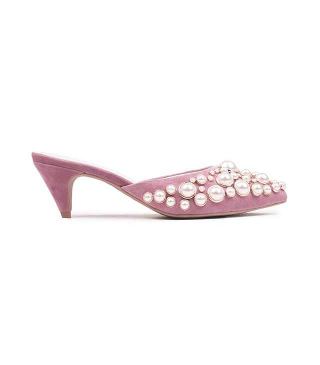 Jeffrey Campbell Jena-prl Pointy Toe Heeled Mules with Pearl Embellishment