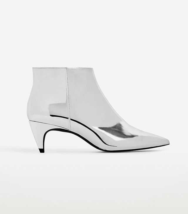 Zara Silver High Heel Ankle Boots