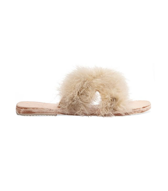 Brother Vellies Feather-Embellished Leather Slides