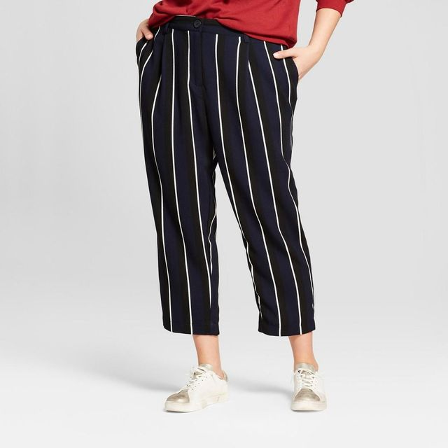 Plus Size Stripe Crop Pants