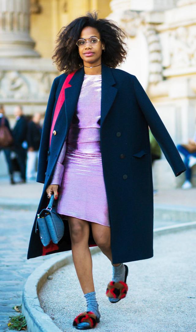 Woman wearing furry flats with socks