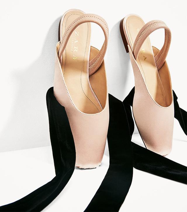 Zara Slingback Ballerinas With Sateen Ribbons