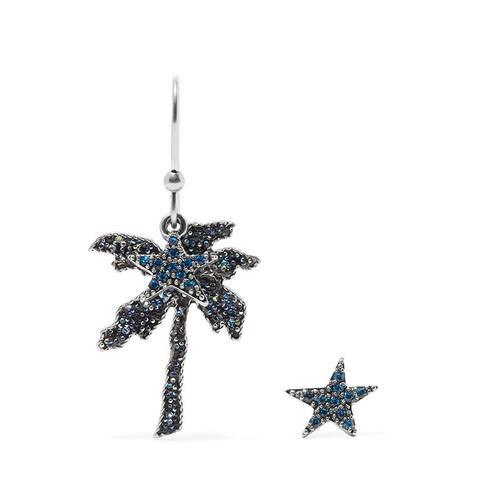 Palm Tree Silver-Tone Crystal Earrings