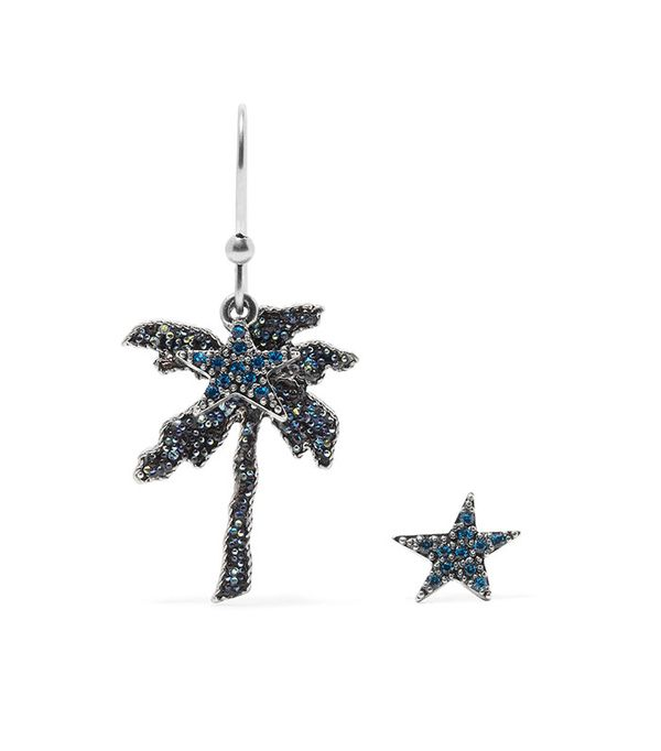 Best Jewelry For The Festival Season Marc Jacobs Palm Tree Silver-Tone Crystal Earrings