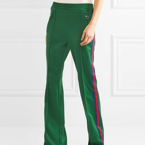 Striped Satin-Jersey Track Pants