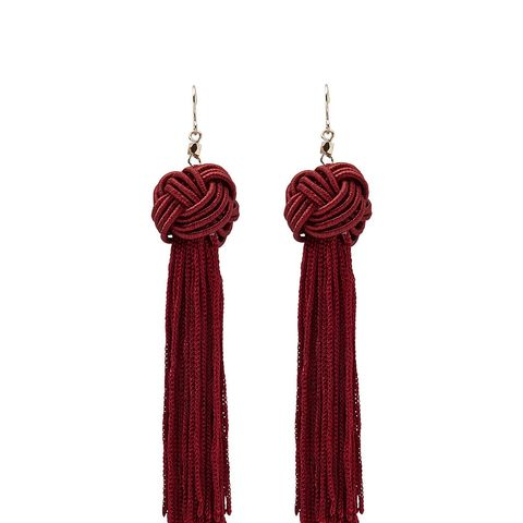 Wine Knot Tassel Earrings