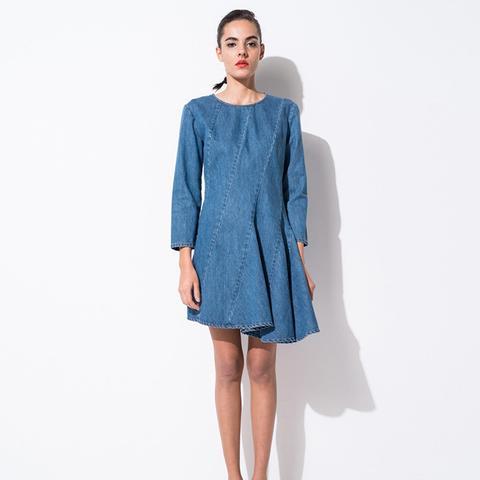 Mid Wash Asymmetric Denim Dress