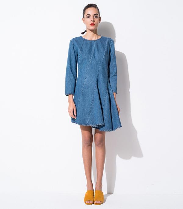 Front Row Shop Mid Wash Asymmetric Denim Dress