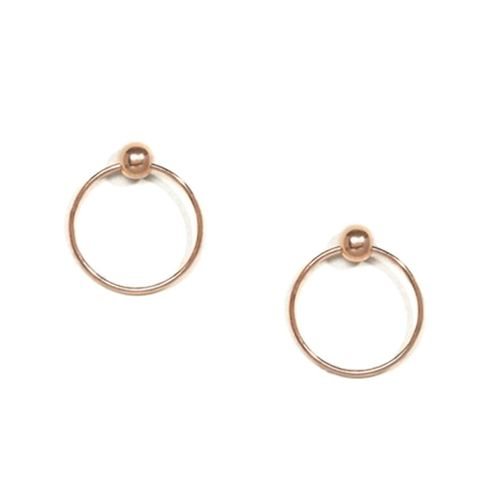 Rose Gold Plated Sterling Silver Stud Circle Earrings
