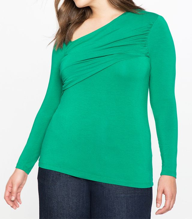 Eloquii Long Sleeve Criss Cross Top
