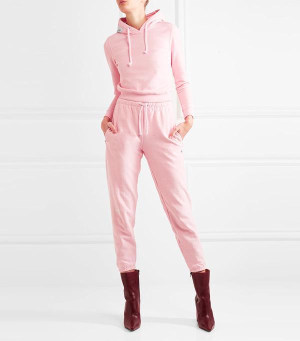Vetements + Champion Appliquéd Cotton-Blend Jersey Hooded Top