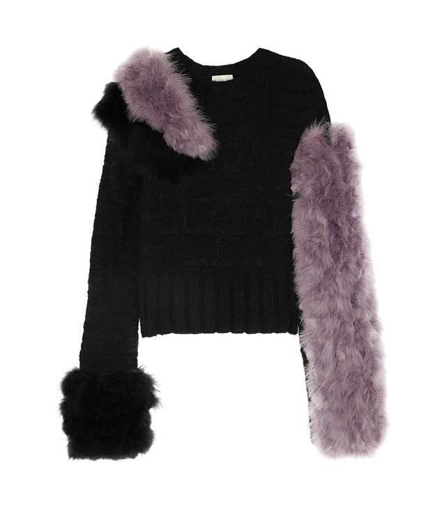 Hiller Bartley Feather-embellished Mohair-blend Sweater