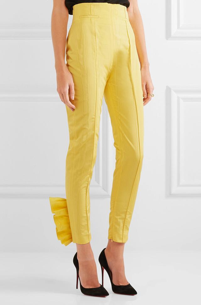 Carmen March Cropped Ruffled Silk-moire Slim-leg Pants