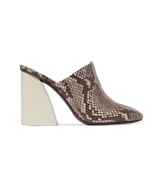Mercedes Castillo Abia Snake-effect Leather Mules
