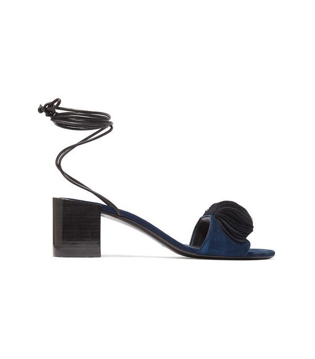 Mercedes Castillo Riza Leather-trimmed Appliquéd Suede Sandals