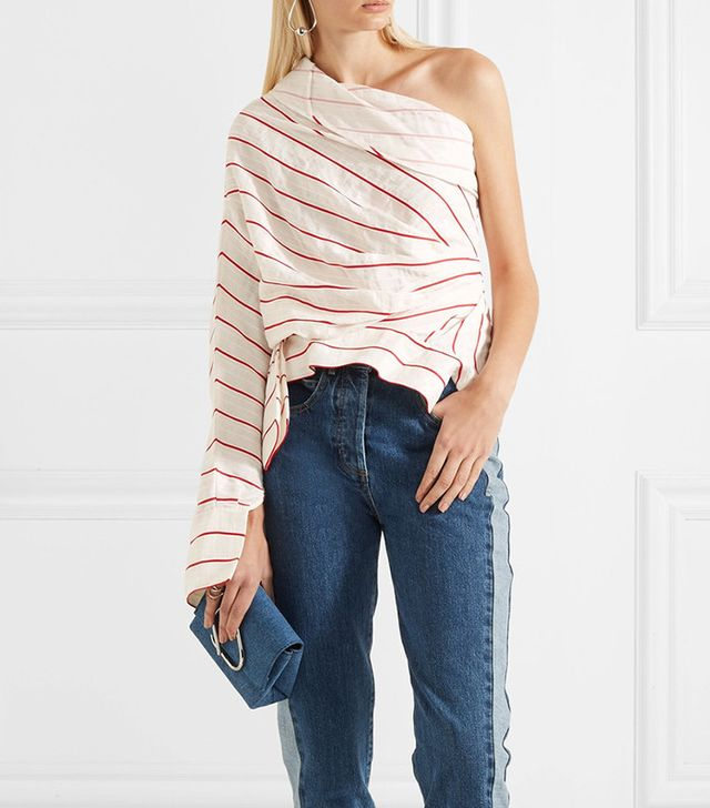A.W.A.K.E. Twisted One-shoulder Striped Jacquard Top