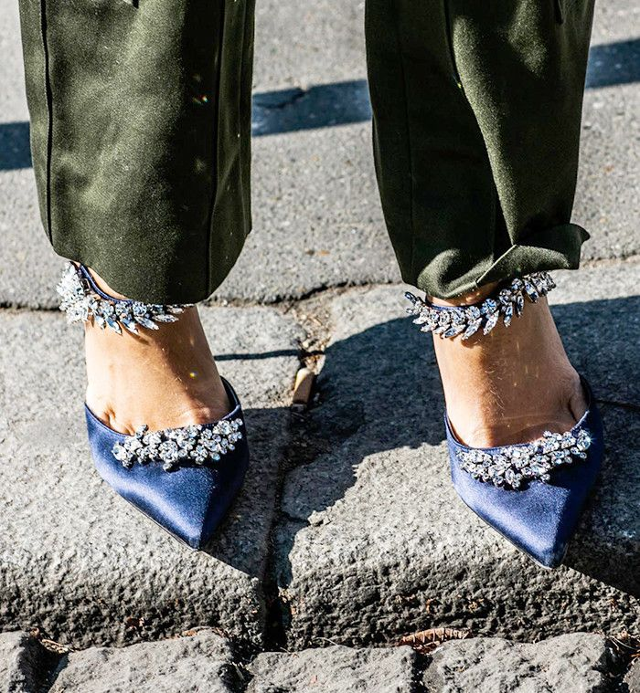 Woman wearing embellished shoes
