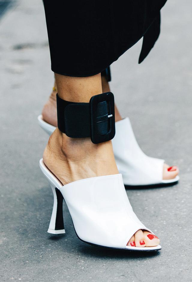 White sandals seen at Milan fashion week
