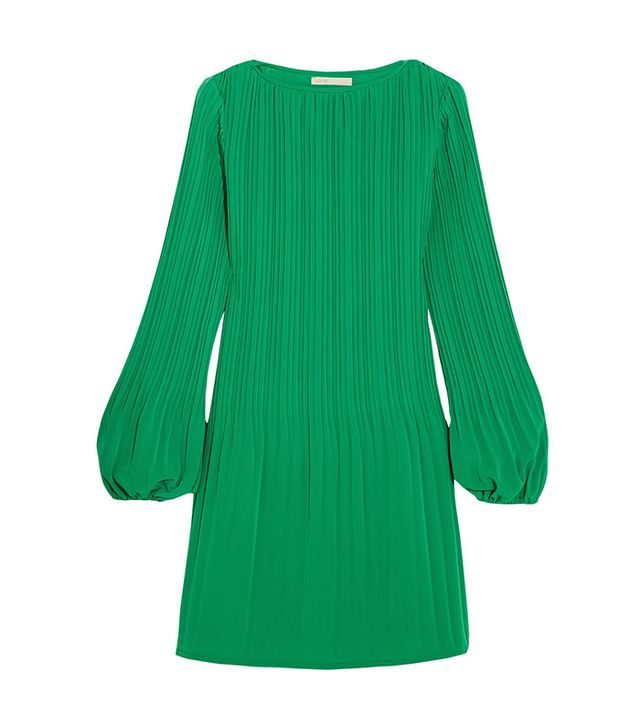 Maje Pleated Crepe Mini Dress