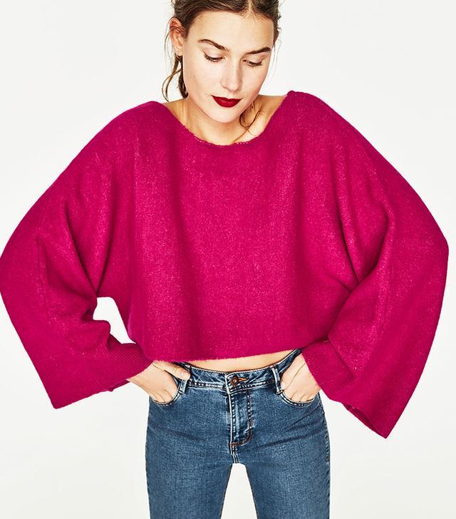 Zara Cropped Wide Sleeve Sweater