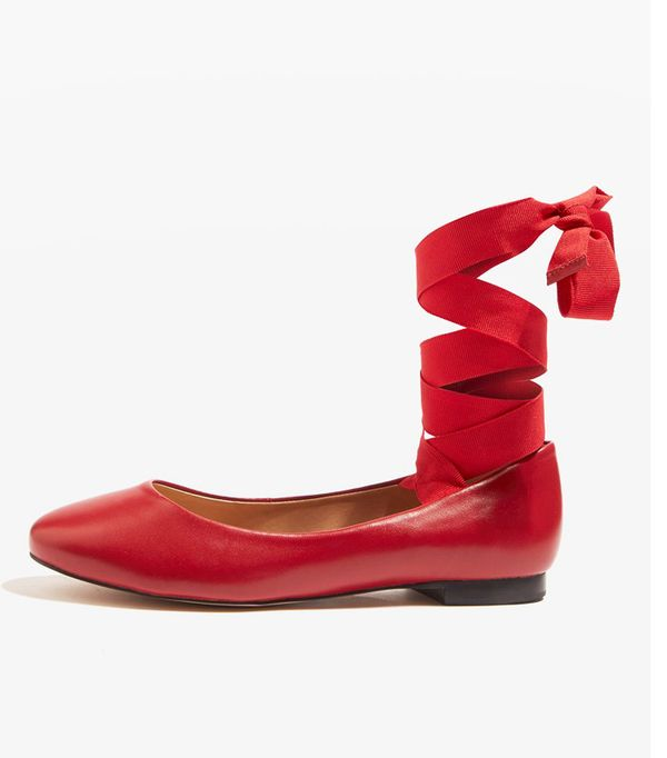 Best ballet pumps: Topshop red ballerinas with ribbons