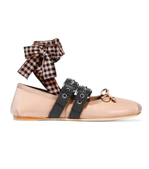 Best ballet flats: Miu Miu with gingham ribbons