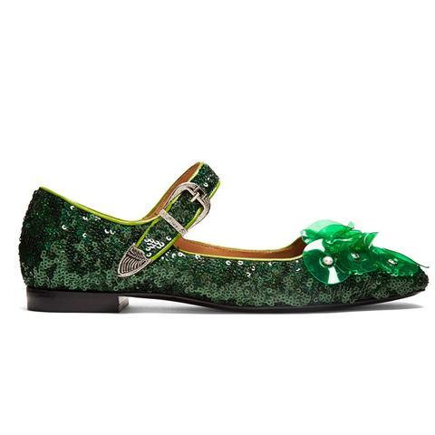 Sequin Square-Toe Embellished Ballet Flats