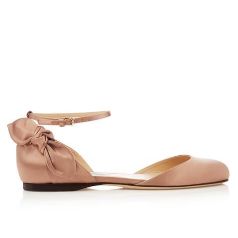 Kirsty Bow-Back Satin Ballet Flats