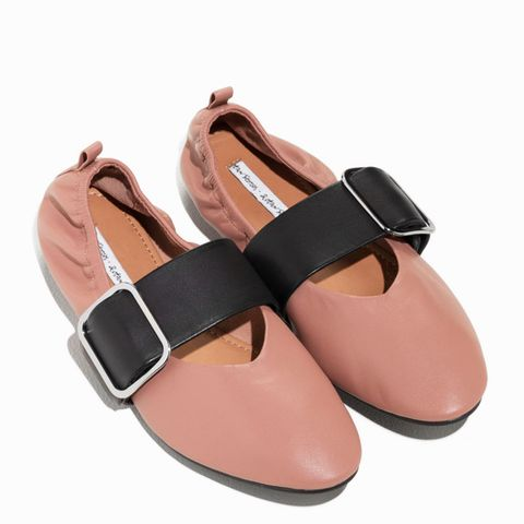 Buckled Leather Ballet Flat