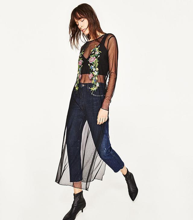 Zara Embroidered Tulle Overlay Dress