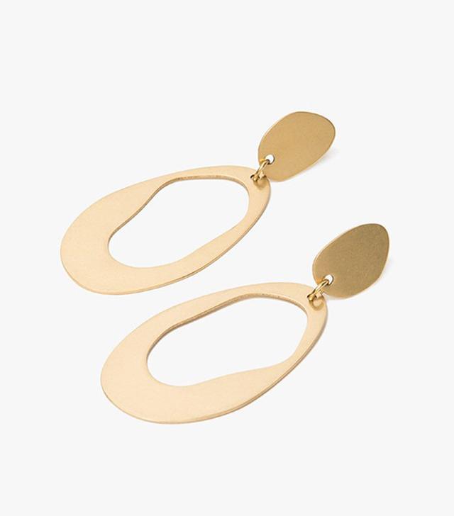 Modern Weaving Large Oval Loop Earrings