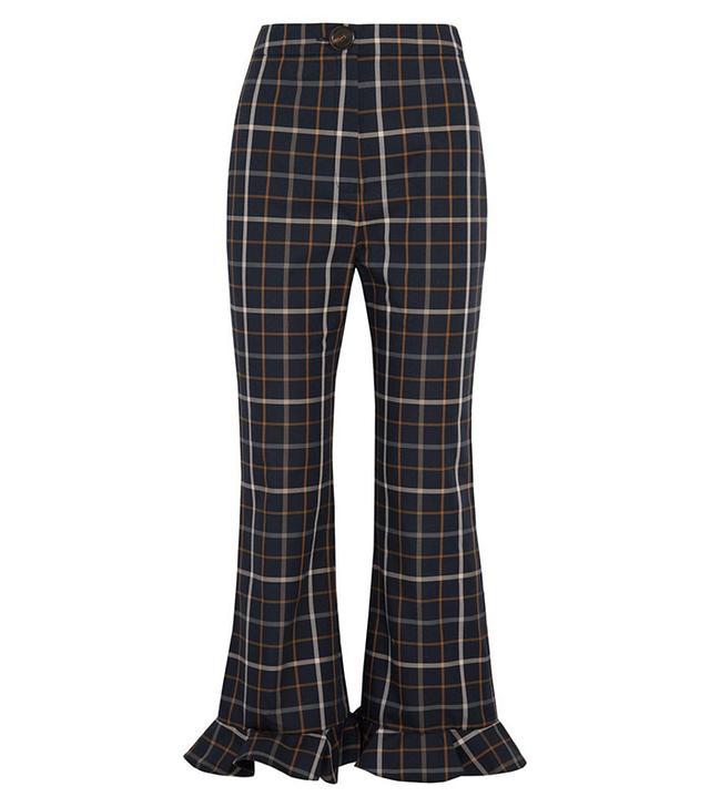 A.W.A.K.E. Jellycheck Ruffled Cotton-Blend Twill Flared Pants