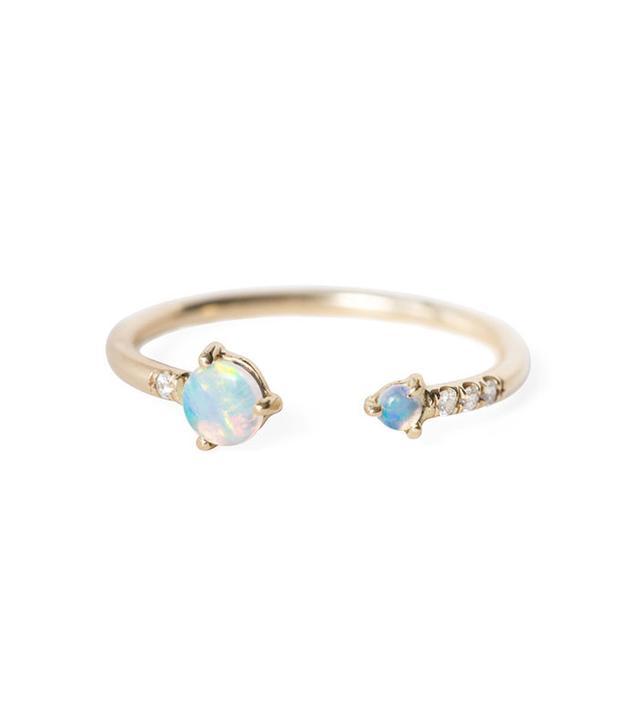 Wwake Open Opal & Diamond Ring