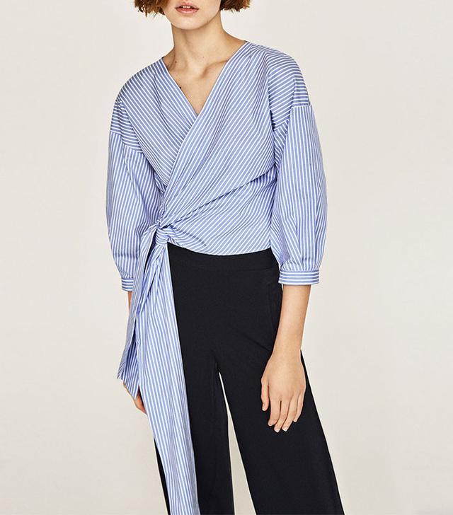 Zara Striped Crossover Shirt
