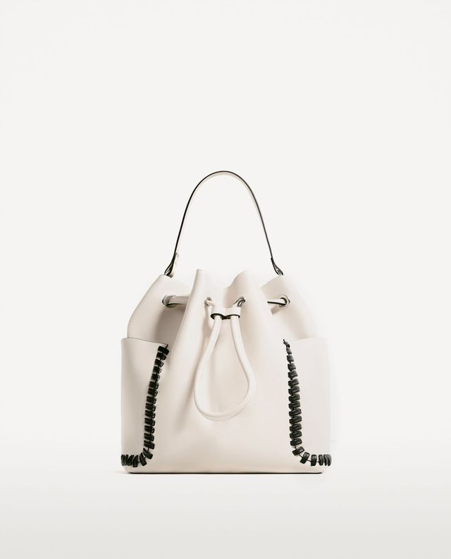 Zara Contrasting Details Bucket Bag