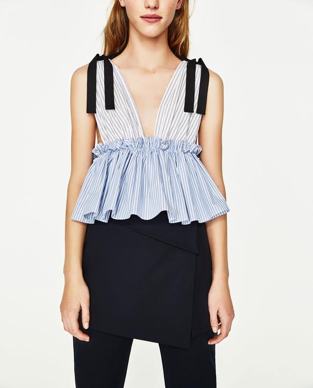 Zara Contrast Striped Top