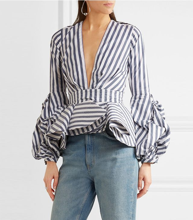 Johanna Ortiz St. Barts Ruffled Stretch-cotton Poplin Top