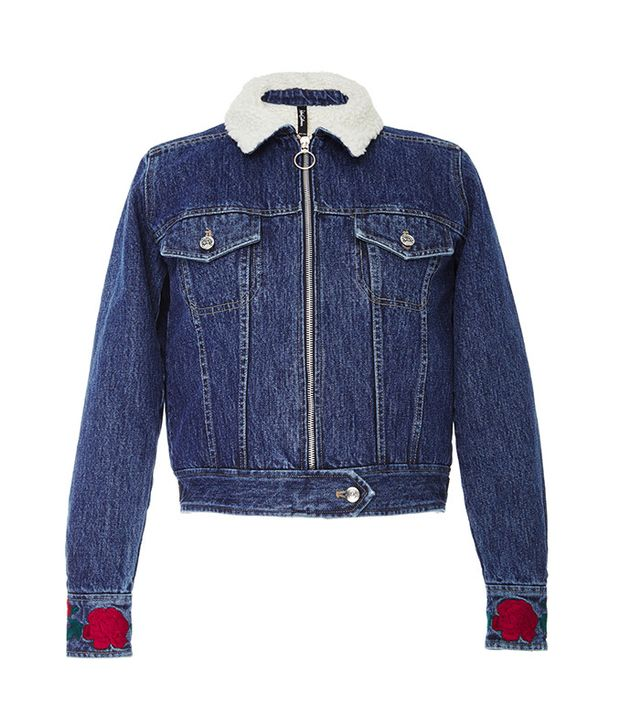 Adam Selman Shearling Denim Jacket