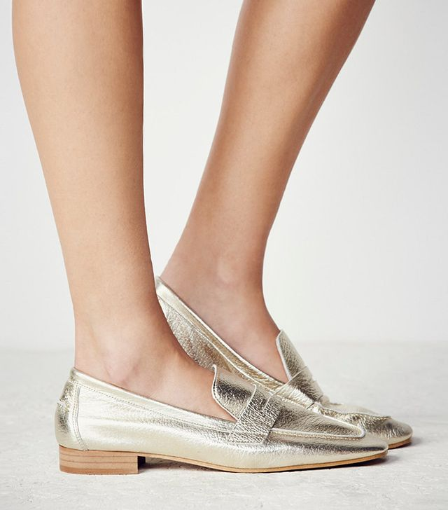 Free People Essex Loafers in Gold Leather