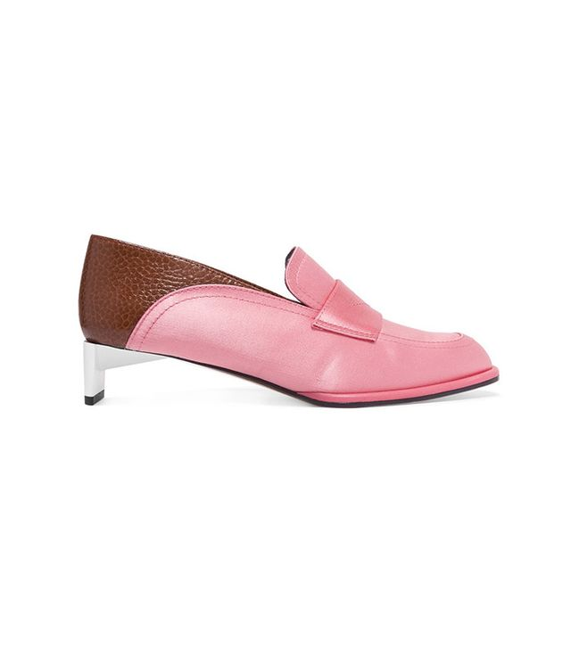Loewe Satin and Textured-Leather Loafers