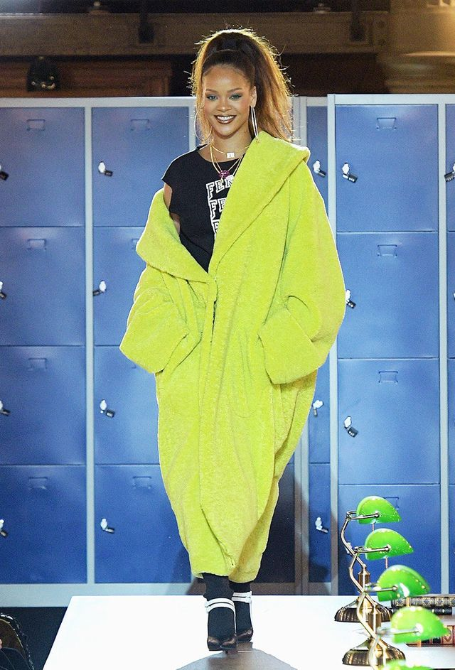 Rihanna lime green Fenty coat