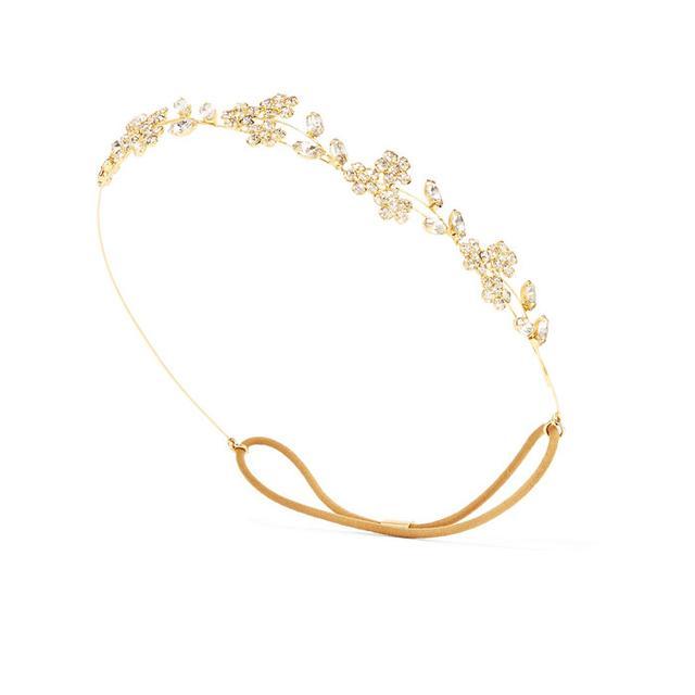 Best street style beauty inspiration: Jennifer Behr Violet Bandeaux Gold-Tone Crystal Headband