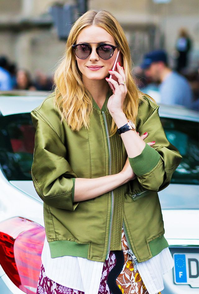 Best bomber jackets: Olivia Palermo in khaki bomber