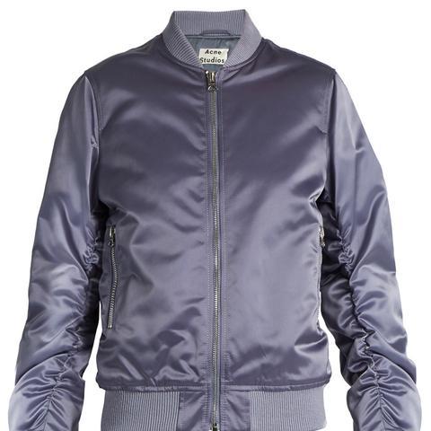 Leia Ruched-Sleeve Bomber Jacket