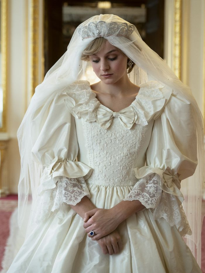 princess diana style: princess diana, as played by emma corrin wearing her wedding dress