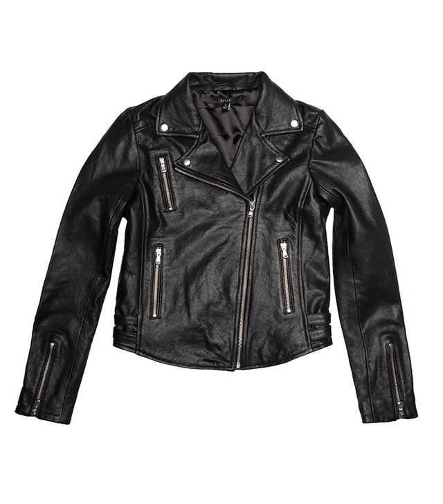 DSTLD Leather Moto Jacket With Silver Hardware