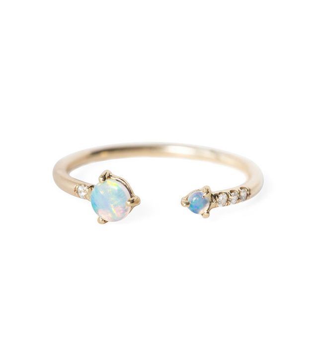 Wwake Open Opal & Diamond Ring