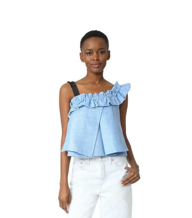 One by UnitedWood Tao Cropped Asymmetrical Ruffled Top